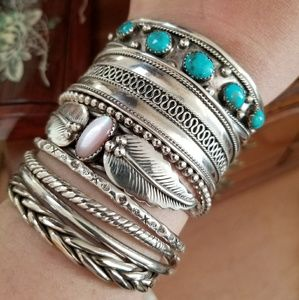 Boho Hippie Chick Sterling Silver Stacking Cuff.